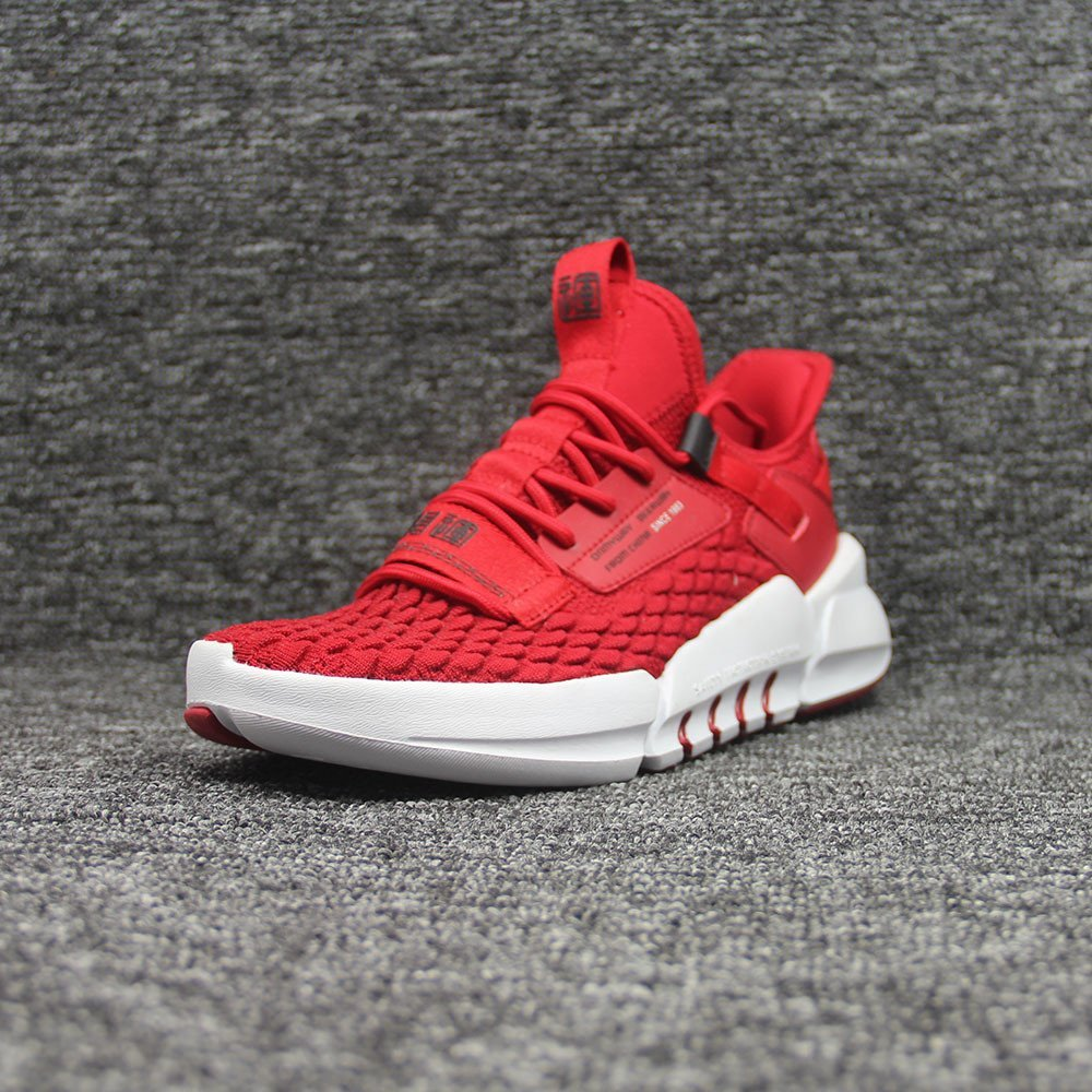 Private label running shoes-red upper-white sole