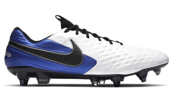 Blue and white football boots