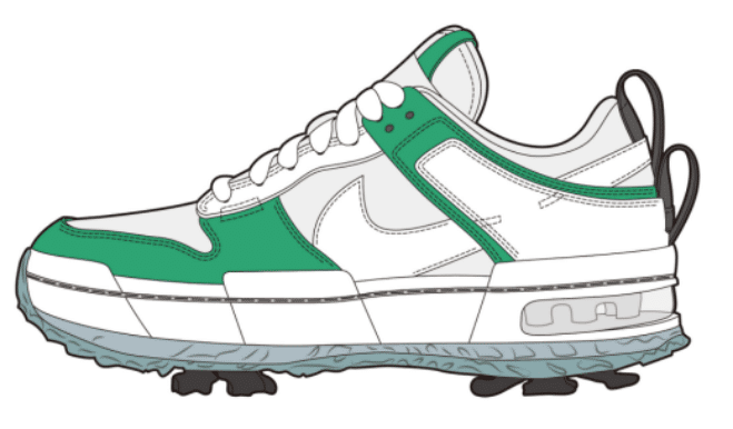 Green private label sports shoes design