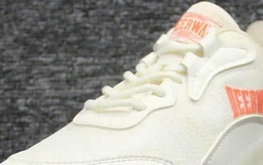 Private label running shoes-white orange upper