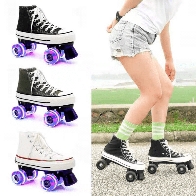 A variety of roller skates in canvas shoe style