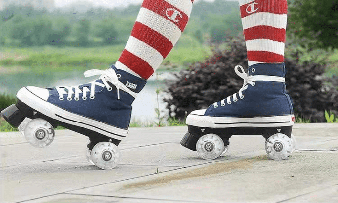 Put on a pair of blue roller skates