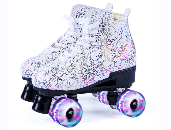 A pair of white striped roller skates