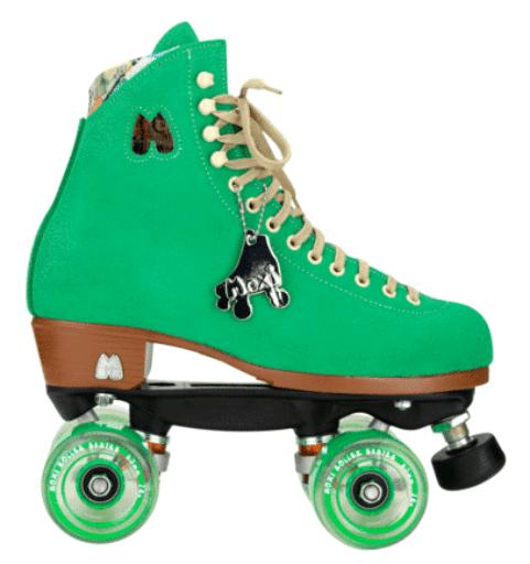 A pair of green roller skates