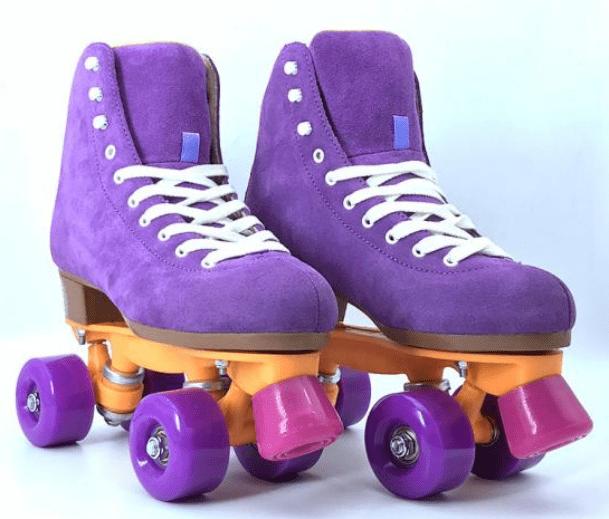 A pair of purple roller skates